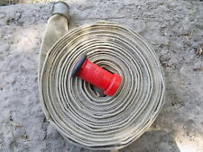 Fire Hose 1 12 X 50 Aluminum Fittings And Red Ufs Nozzle Needs New Gasket