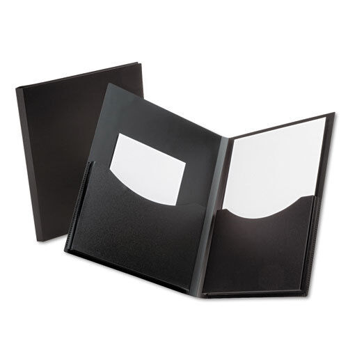 200-Sheet Capacity Black Oxford Double Stuff 2-Pocket Polypropylene Folder