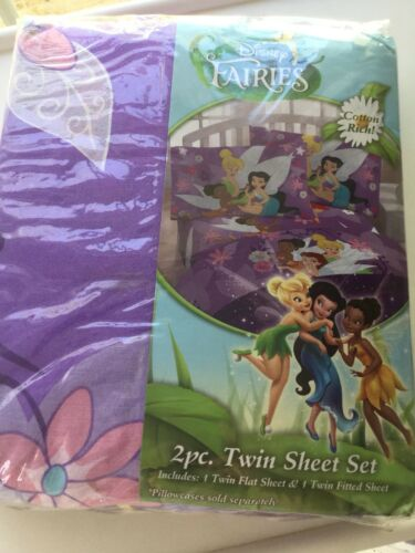 Disney Fairies Twin Sheet Set New Sealed Purple Tinker Bell No ow Case