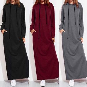 women maxi dress long sleeve hooded ladies casual hoodies