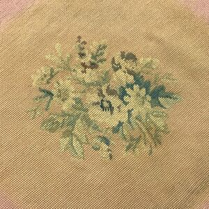 Vtg-Needlepoint-Chair-Seat-Cover-Large-Floral-Faded
