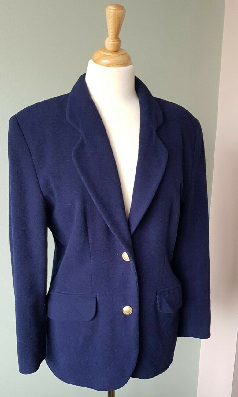 Vintage Pure Wool Jacket Size 12 - 14 Midnight Blue Fully Lined