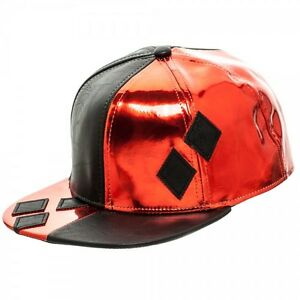 DC-HARLEY-QUINN-DIAMONDS-Faux-Leather-Costume-Snapback-Hat-NEW-LICENSED
