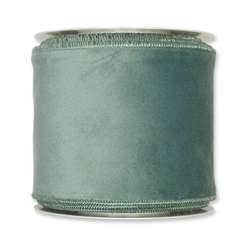 """Sage Green Velvet fabric ribbon 4/"""" wide on 26ft Roll Wired edge"""