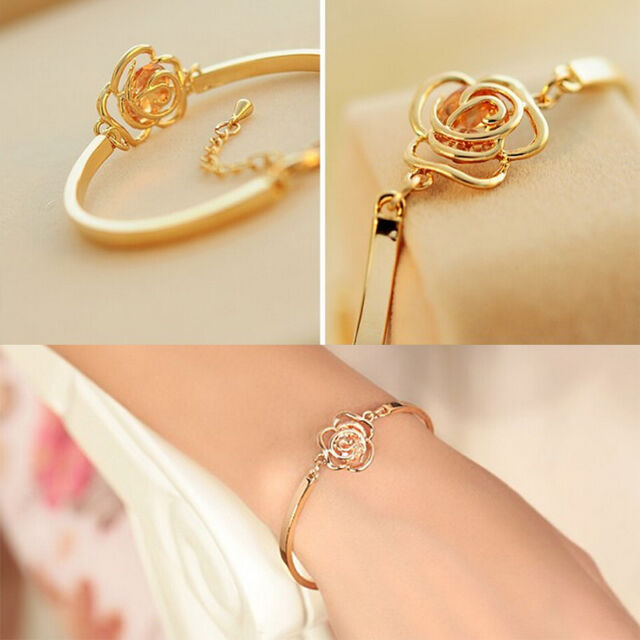 Special Women Crystal Rose Flower Bangle Gold Filled Cuff Chain Bracelet KQ