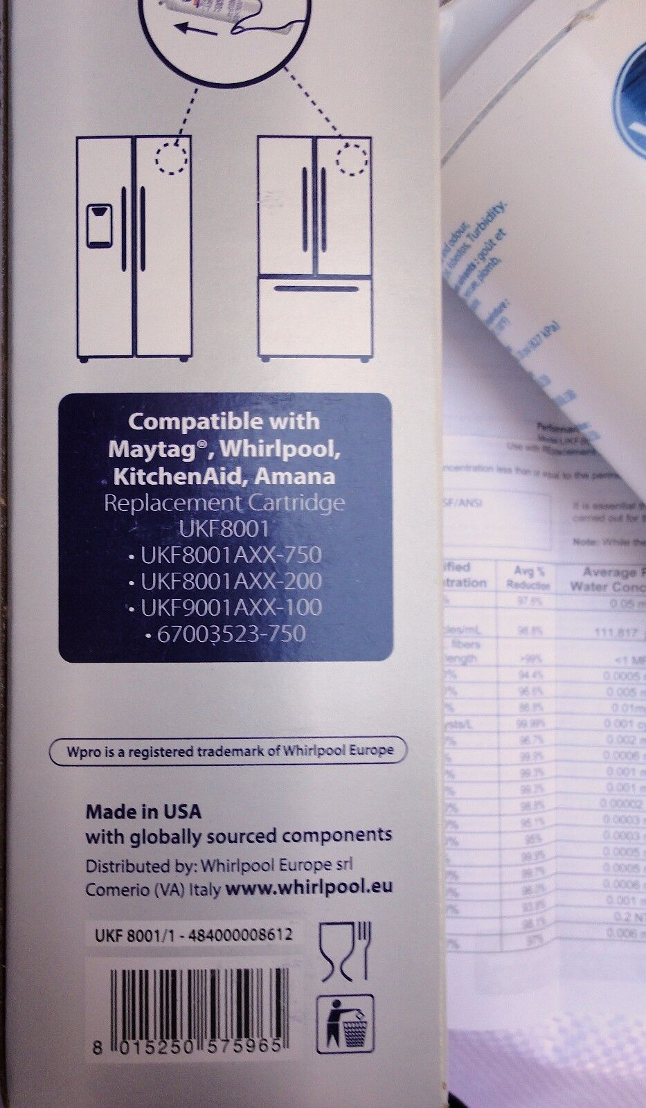 Maytag AC2224GEKB - Wpro UKF8001 1 fridge water filter for for for UKF8001 UKF8001A e19650
