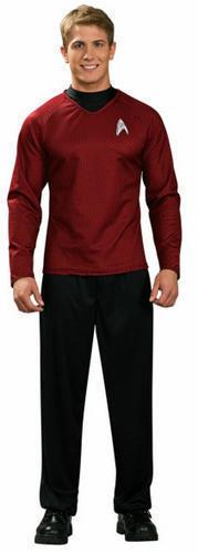 Scotty Camicia Da Uomo Costume Star Trek Rosso Sci Fi Spazio Uniforme Costume Adulti