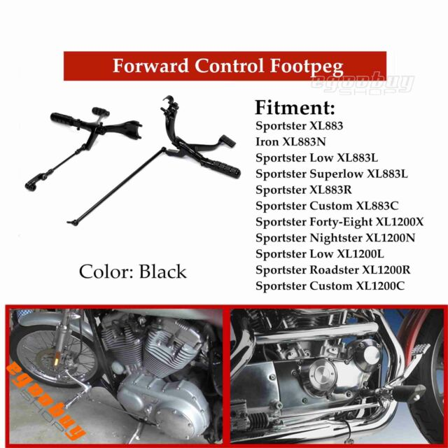 Sportster 883 Forward Controls kits Roadster XL1200 Black Forward Control Pegs 1991-2003
