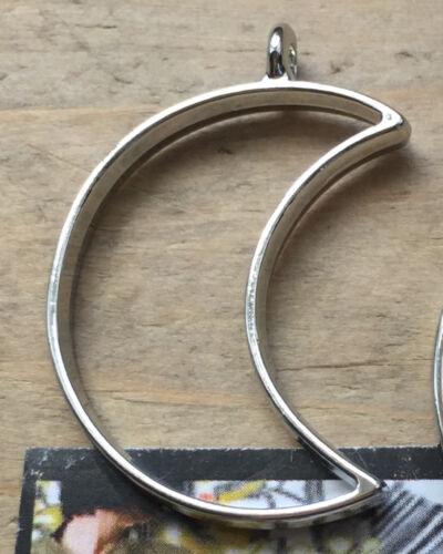 1 Hollow HALF MOON Silver AntIque Bronze Open Flat Back Bezel Pendants Resin UK