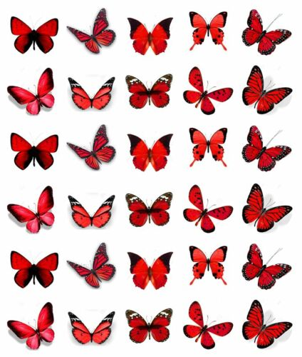 30x Rouge Papillons Cupcake Toppers Comestible Gaufre Papier Fée Gâteau Toppers