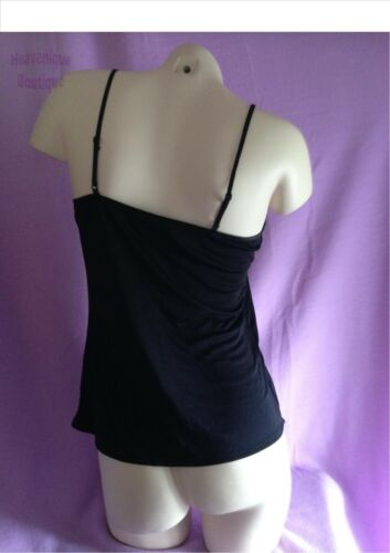Ex Store BLACK SLINKY CAMISOLE TOP with adjustable strap /& bow detail 8-22