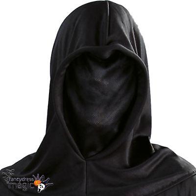 *Halloween Black Phantom Grim Reaper Executioner Invisible Hooded Costume Mask*