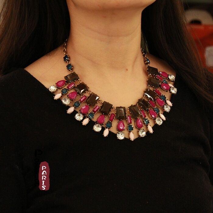 Halskette art deco purplet Amber Quadrat Tropf vintage Stil Original Abend qt 2