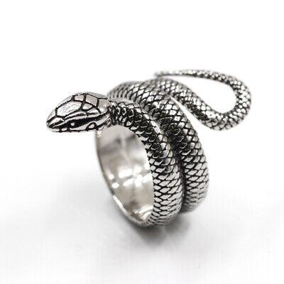 Anello Uomo e Donna Serpente Cobra Vintage Simbolo di Saggezza Gioielli Acciaio