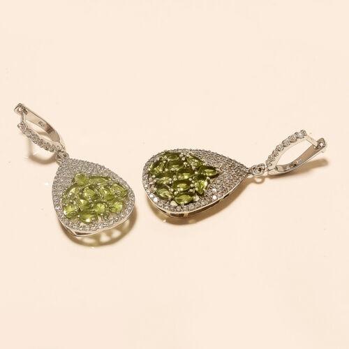Real Egyptian Peridot Earrings 925 Sterling Silver Women Chandelier Fine Jewelry