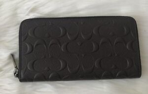7660e92ca7ea Details about Brand New COACH Accordion Zip Men s Wallet in Signature  Crossgrain Leather