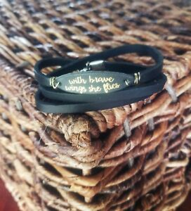 Handmade-womens-unique-black-leather-bracelet-wrap-with-quote-034-with-brave-wings