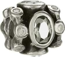 Auth. Chamilia Sterling .925 Silver Bead Charm JB-17A Royal w/Clear CZ