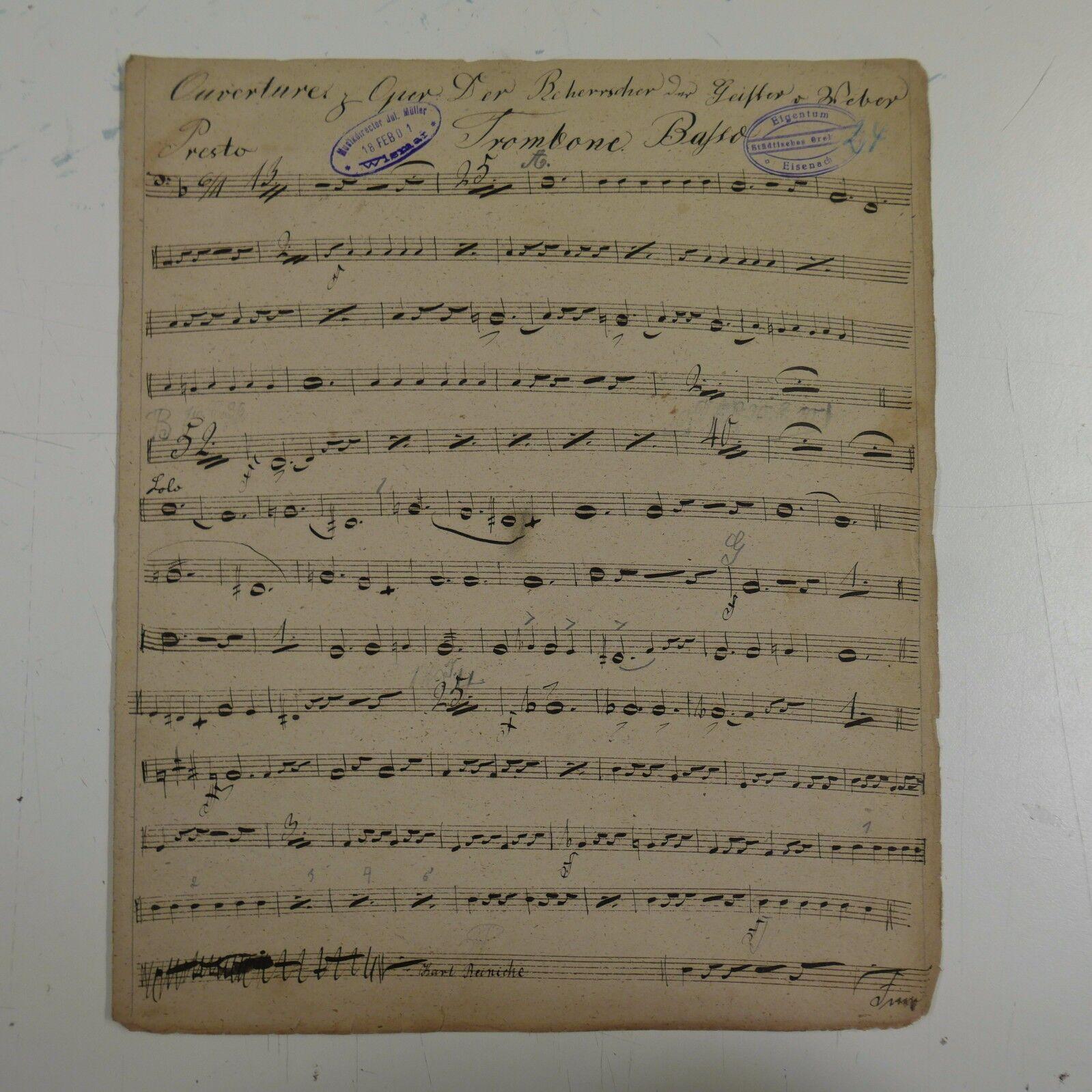 C M v WEBER DER BEHERRSCHER DER GEISTER trombone bass  , antiq music manuscript