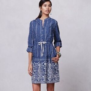 Anthropologie-Meadow-Rue-Anila-Shirtdress-Blue-White-Geo-US-2