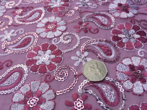 per metre Poly Georgette Embroidered /& Sequinned Fabric /'Shimla/' Berry