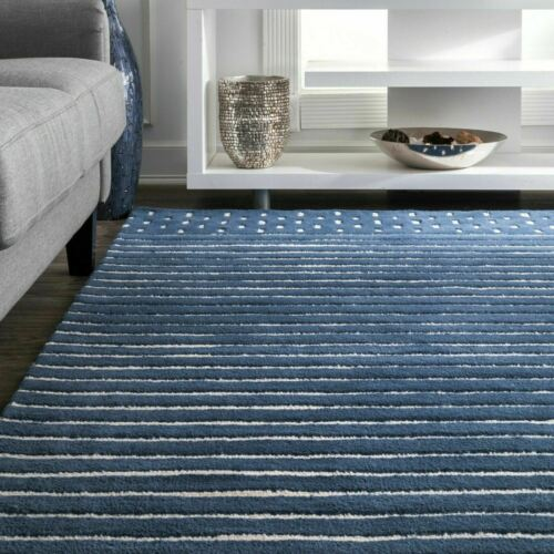 nuLOOM Solid /& Striped Contemporary Kids Hand Loomed Marlowe Stripes Rug Navy