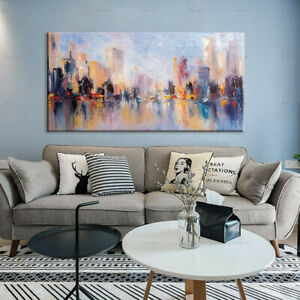 Details zu Buildings River Modern Living Room Bedroom Canvas Painting Art  Wall Painting