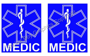EMERGENCY AMBULANCE  Magnet FIRST RESPONDER Medic Paramedic Event First Aid  x 2