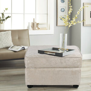 Large Soft Crushed Velvet Fabric Footstool Pouffe Ottoman Stool Coffee Table Uk Ebay