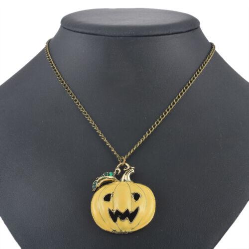 1 Halsschmuck Halskette Anhänger Kette Modeschmuck Kürbis Bronze Gelb 70cm LP