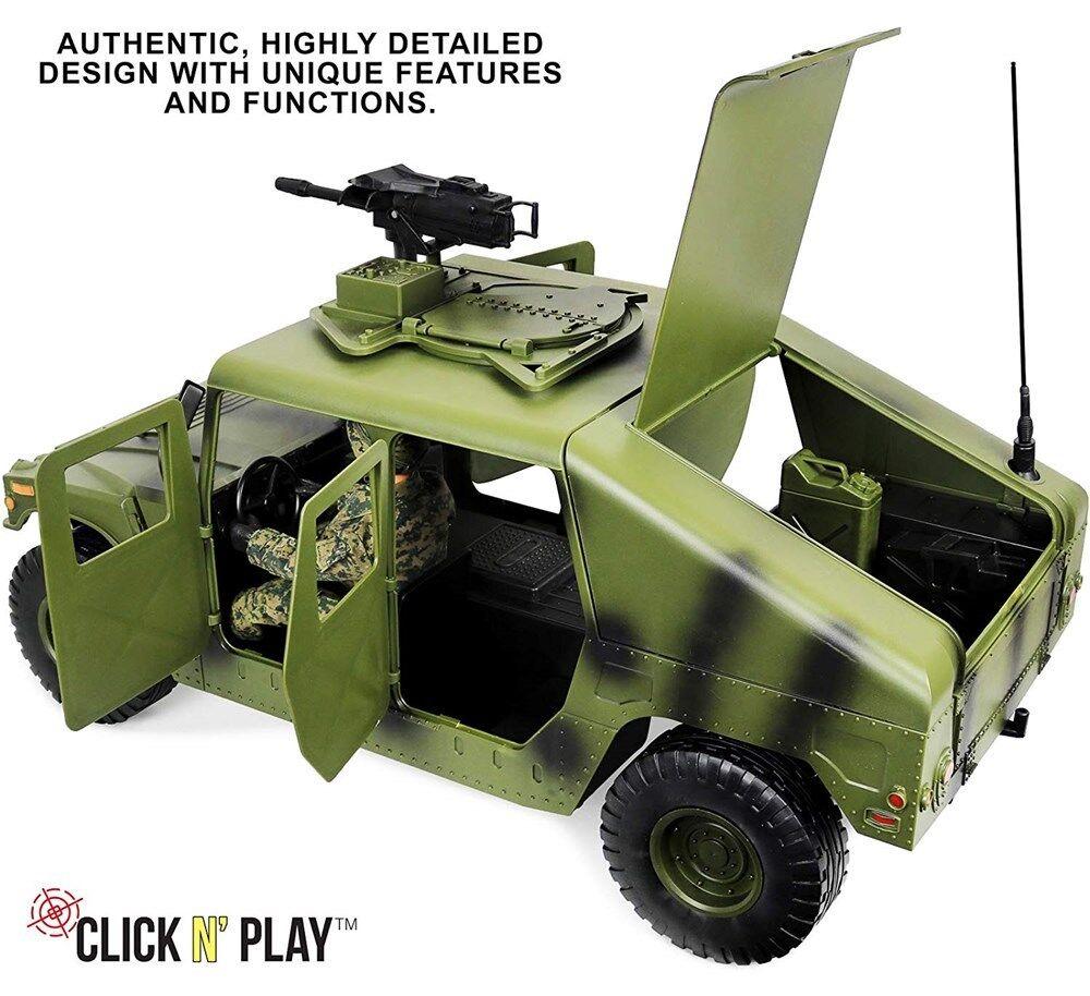"Click N/' Play Military Jumbo 12/"" Long Humvee Vehicle Action Figure Play Set"