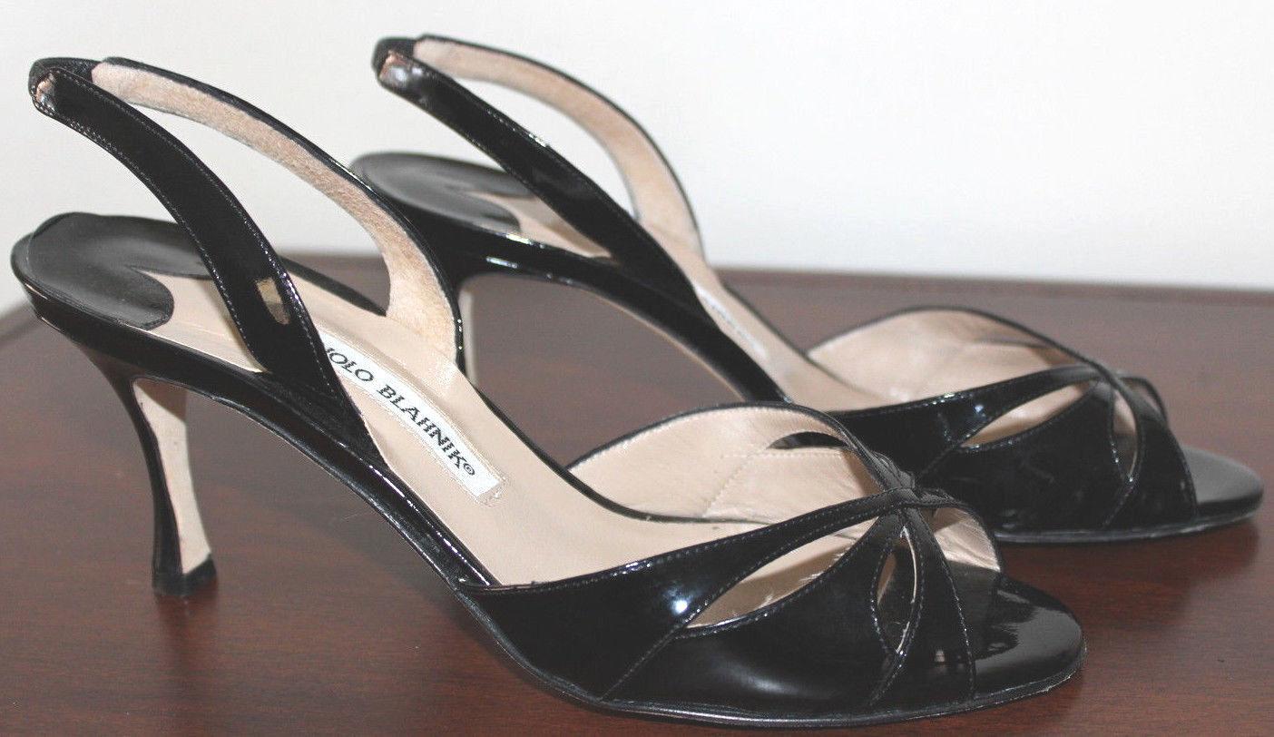 Manolo Blahnik Black Patent Leather Sandals Size 38 US 7.5-8