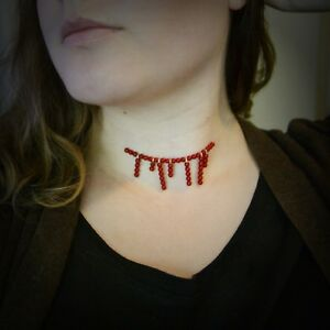 Beaded-Blood-drip-necklace