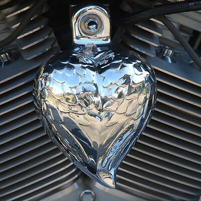Angel Wing Heart horn cover polished aluminum. '92-up Harley-Davidson. HRT-PW