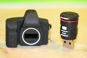NUOVO Molto Carino Novità macchina fotografica con logo PEN/FLASH DRIVE MEMORY STICK Regalo Di Stoccaggio