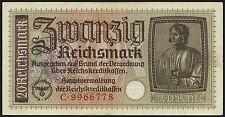 Ro.554c 20 Reichsmark (1939) (1-) belgischer Gemeindestempel
