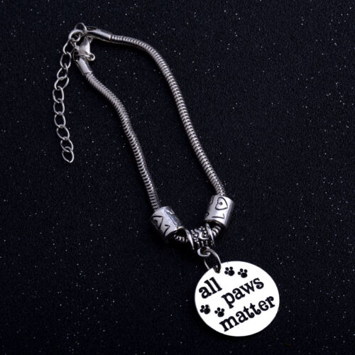 Pet Rescue Dog Cat Black Paws Print Heart Charm Silver Chain Necklace Bracelet