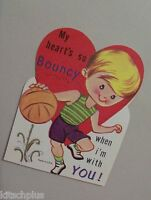 Vtg Valentine Card 70's Basketball Uniform Player Bouncy Heart  UNUSED