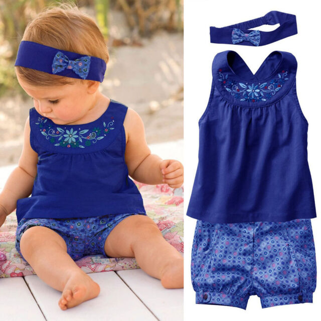 Baby Clothes 3PCS Sets Suits Cute Girls Vest tops Scarf Headband Pants Hot
