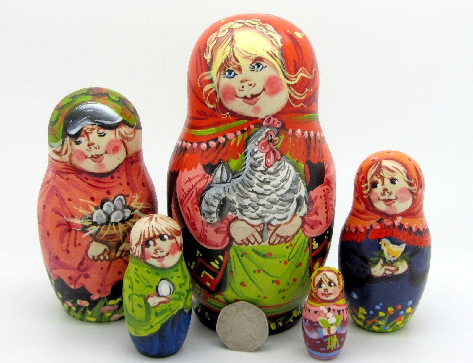 Dalla Russia Bambola Matrioska dipinto a mano OPACO Pollo uovo Sergeyeva FIRMATO