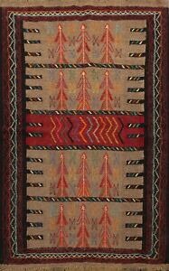 4-039-x6-039-Hand-Woven-Geometric-Kilim-Wool-Area-Rug-Oriental-Traditional-Foyer-Carpet