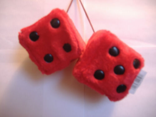 """1 PLUSH FUZZY DICE RED  2.5/"""" INCHES HANG ON  YOUR CAR MIRROR"""