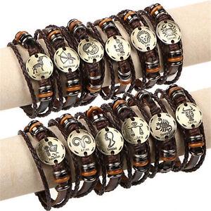 Mens-Personalised-Leather-Braided-Bracelet-amp-Various-12-Constellation-ENGRAVING