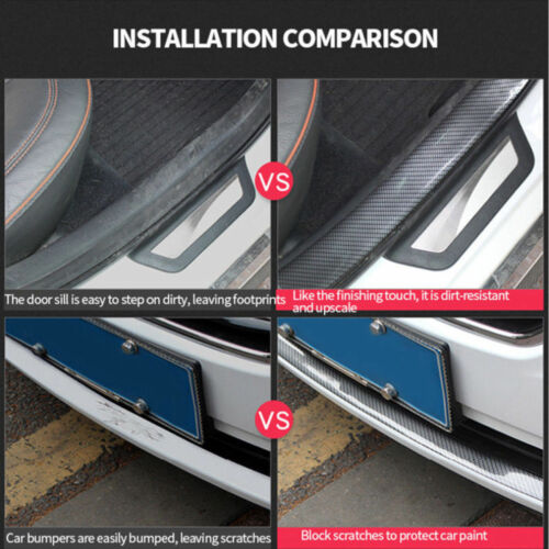 Car Door Sticker Sill Scuff Welcome Pedal Protect Carbon Fiber Sticker 5CM*1M