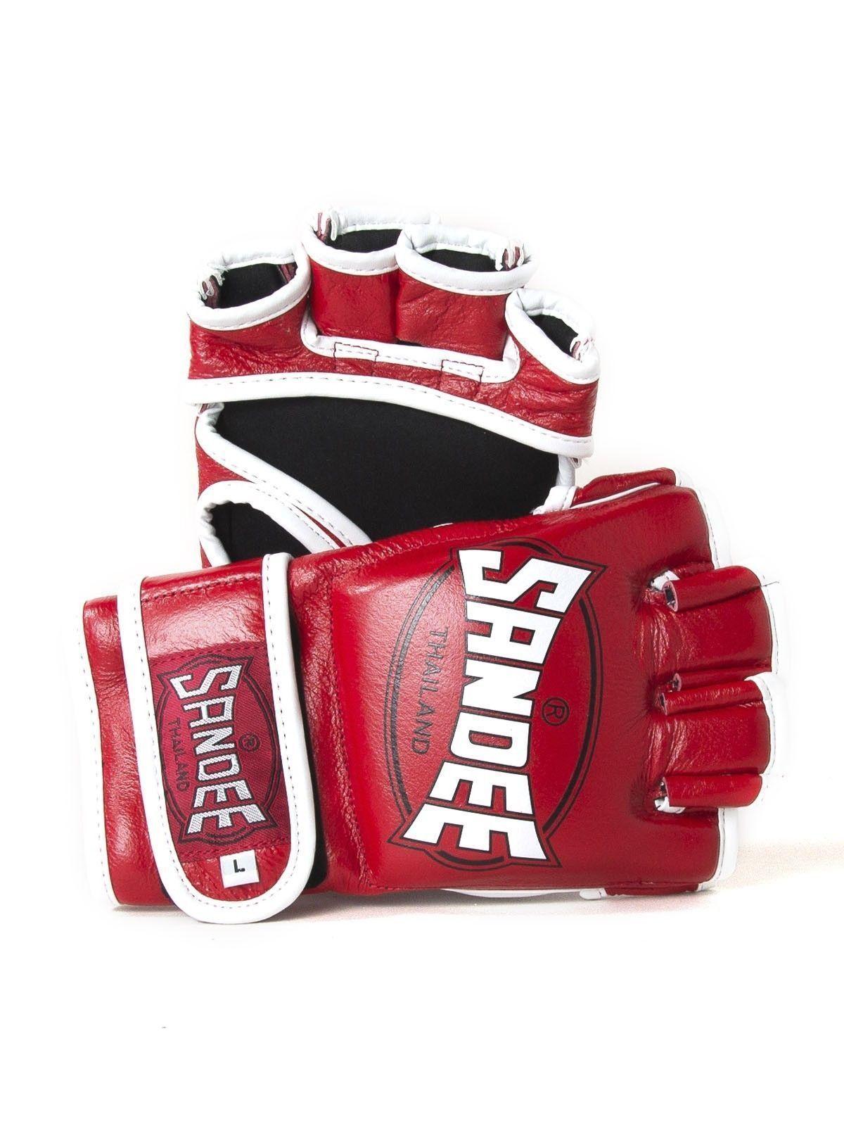 Sandee ROT & Weiß Leder MMA Fight Gloves