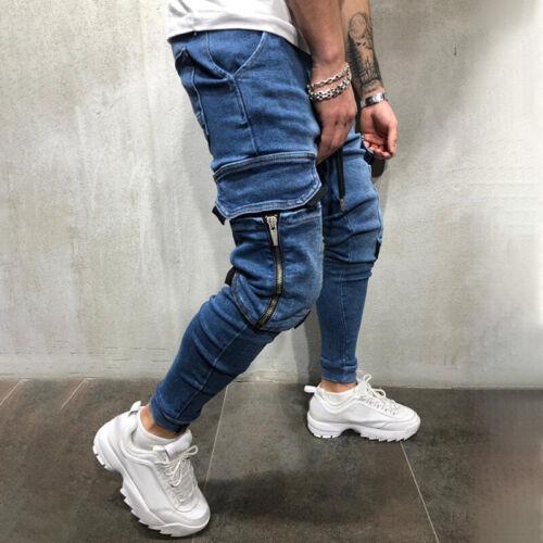 Herren Slim Fit Skinny Röhrenjeans Röhrenhose Cargotaschen Ripped Jeans Hosen DE