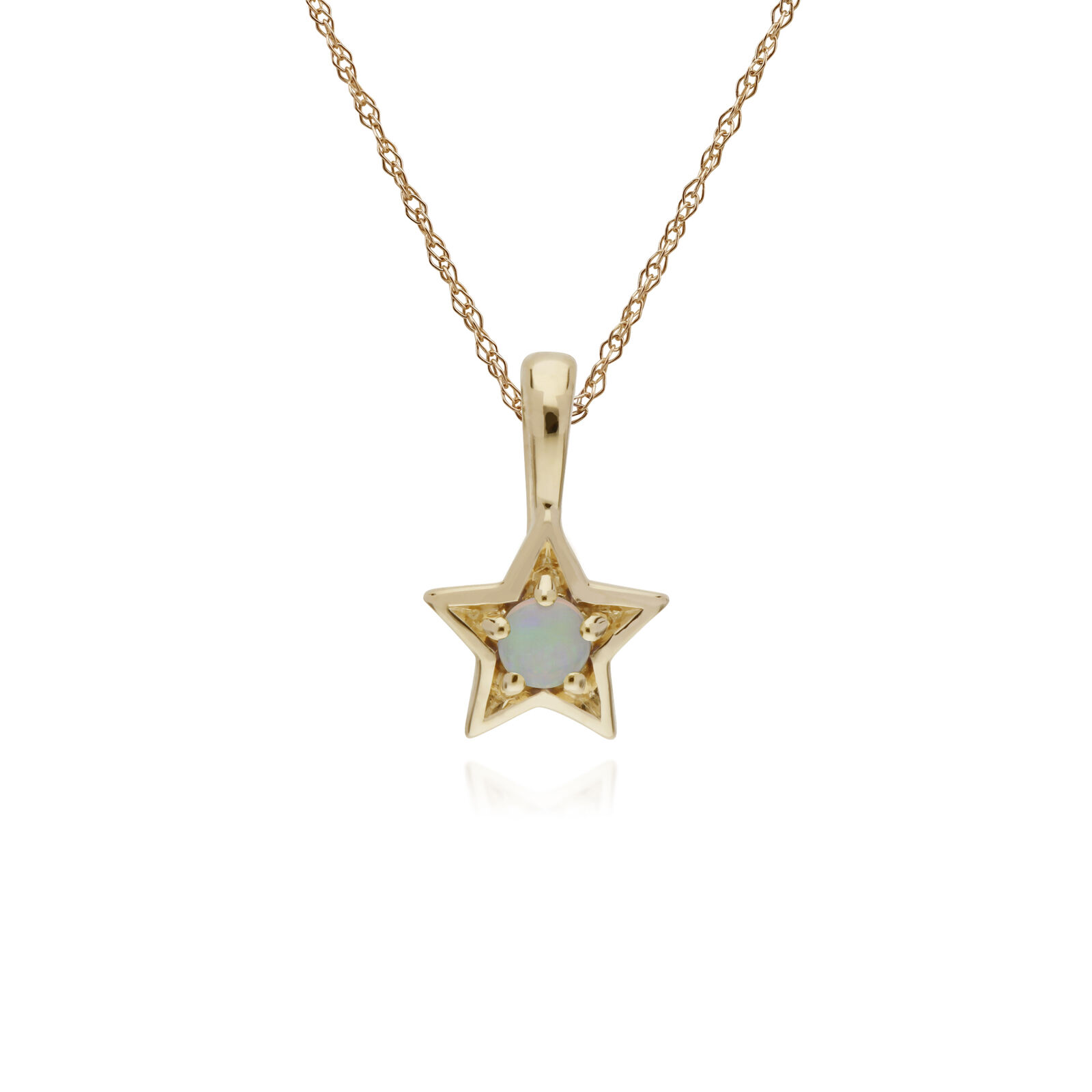 Gemondo 9ct Yellow gold Opal Single Stone Star Pendant on 45cm Chain