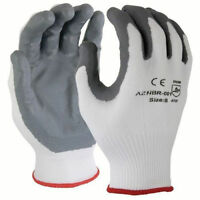 120 Pairs White 15 Gauge Premium Nylon Lycra Liner Gray Palm Safety Glove,