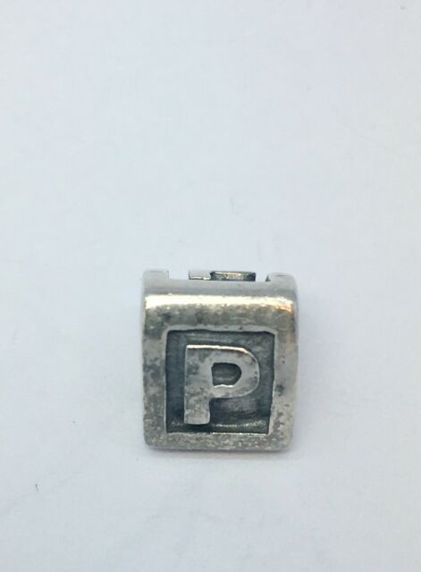 Authentic Pandora Charm Sterling Silver Alpha P Retired