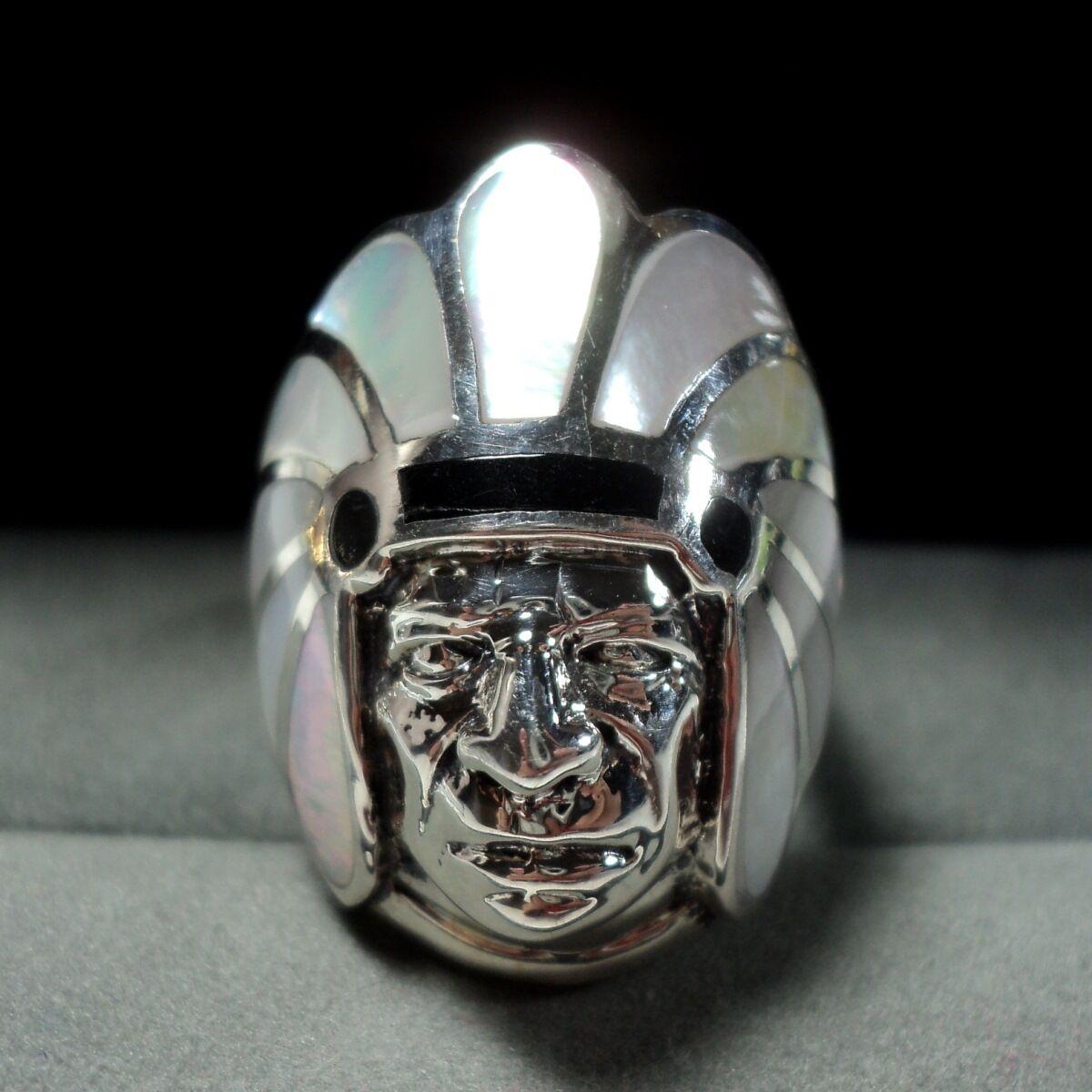 Bague en argento 925 avec Nacre et Onyx Onyx Onyx - Chef Indien   T.53 59e894